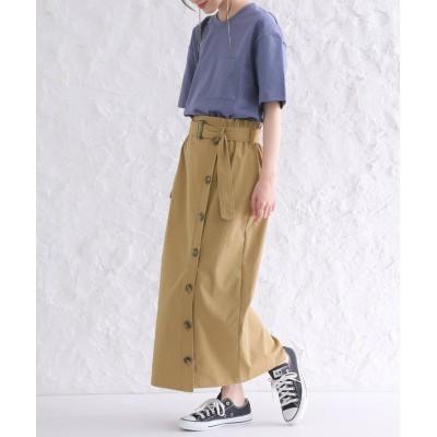 【オシャレウォーカー】 『nOrフロントボタンタイトスカート』 レディース ベージュ 2(LL~3L) osharewalker