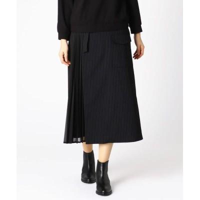 COMME CA/コムサ 異素材プリーツ ドッキング 巻き風スカート クロ×シロ 5号