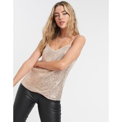 スタイルチート レディース シャツ トップス Style Cheat sequin cami top in rose gold