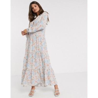ウェアハウス Warehouse レディース ワンピース ワンピース・ドレス ornate floral print midi dress in blue ブルー