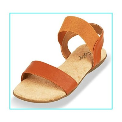 Floopi Sandals for Women | Cute, Open Toe, Wide Elastic Design, Summer Sandals| Comfy, Faux Leather Ankle Straps W/Flat Sole, Memory Foam Insole| (8,