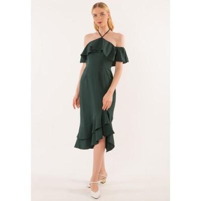 ベベージュ Bebebeige レディース パーティードレス ワンピース・ドレス Halter Neck Dinner Dress Green