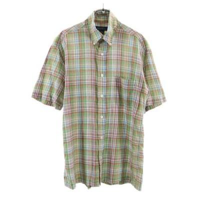 ブルックスブラザーズ チェック柄 半袖 ボタンダウンシャツ S Brooks Brothers メンズ 古着 210622 メール便可
