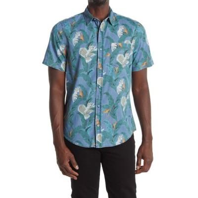 パブリックオピニオン メンズ シャツ トップス Short Sleeve Printed Chambray Dress Shirt BLUE TROPICAL BIRD