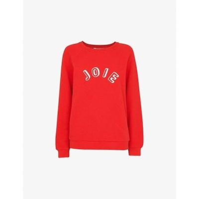 ホイッスルズ WHISTLES レディース スウェット・トレーナー トップス Joie slogan-print cotton-jersey sweatshirt RED