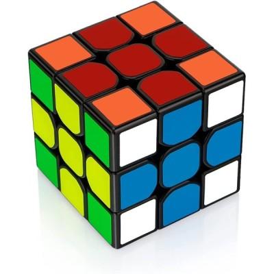 Findbetter 競技用キューブ 3x3x3 黒素体 世界基準配色 PVCシール こども 脳トレ 回転スムーズ (3x3x3)