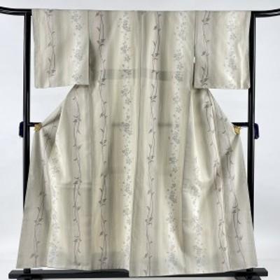 結城紬 美品 逸品 証紙 はたおり娘 やまと 桜 葉柄 ベージュ 袷 身丈158.5cm 裄丈63.5cm S 正絹 中古
