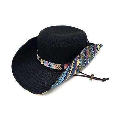 ハッピーハット ハット ゆったり約61cm チロリアン柄2WAYサファリハット ブラック hat-1263-04