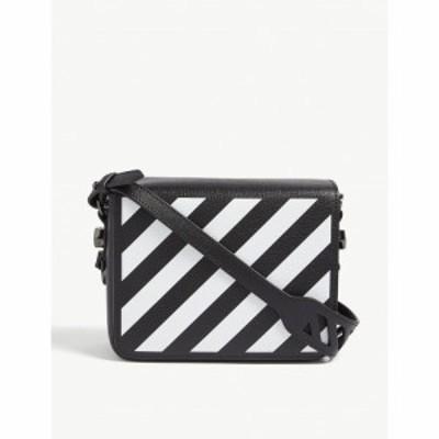 オフホワイト OFF-WHITE C/O VIRGIL ABLOH レディース ショルダーバッグ バッグ Diagonal stripe leather cross-body bag BLACK WHITE