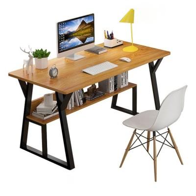 [ブラック]ホームオフィスのための現代のシンプルなデザインの木製コンピューターデスクPCラップトップテーブルワークステーション研究家具