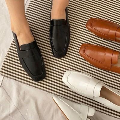 新作在庫 アウトレット ブラウン 22.5cm ローファー 痛くない 履きやすい ローヒール ヒール レザータッチ ブラック ホワイト ブラウン