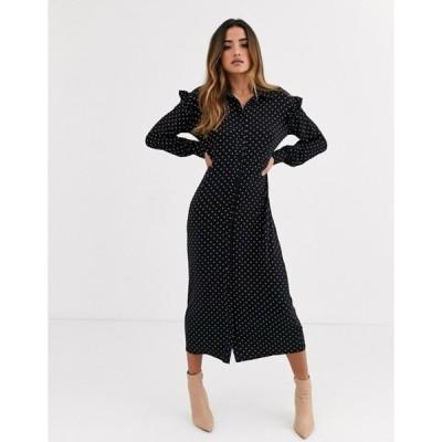 エイソス レディース ワンピース トップス ASOS DESIGN mono spot long sleeve shirt maxi dress