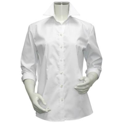 トーキョーシャツ TOKYO SHIRTS 形態安定ノーアイロン スキッパー衿 白無地ベーシック 七分袖ビジネスワイシャツ (ホワイト)