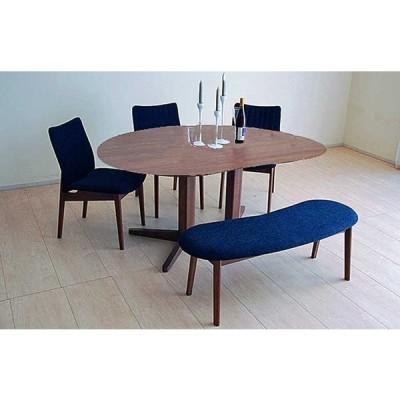 ウォールナットMirage ミラージュ180テーブルRN/CH+椅子3+ベンチ 木部色・生地選択可 家具産地大川製