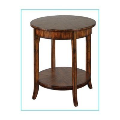 エレガントな素朴なラウンド木製アクセントテーブル【並行輸入品】