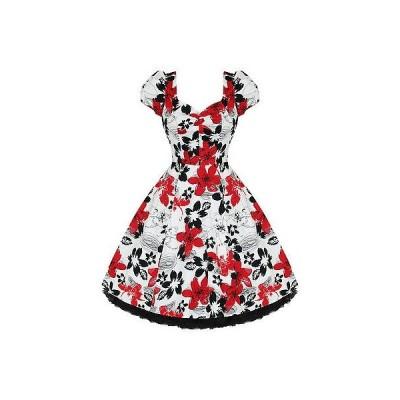 ハーツアンドローズロンドン ドレス ワンピース レディース レディース New レッド ホワイト フローラル 50s Vtg Rockabilly Swing パーティ Prom ドレス UK
