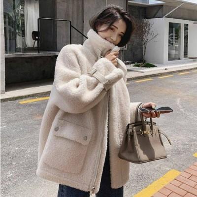 ボアジャケット コート もこもこ あたたかい ハイネック ベルト ポケット ジップアップ カジュアル レディース アウター 大きいサイズ 秋 冬