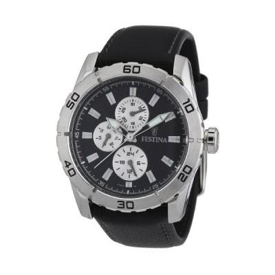 Festina Men's Quartz Watch with Black Dial Analogue Display and Black Leather Strap F16607/3 並行輸入品