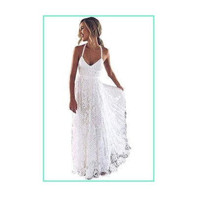 iluckin Women's Spaghetti Straps Backless Lace Beach A Line Wedding Dresses with Train for Bride Split Bridal Gown White並行輸入品