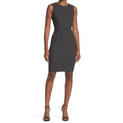 カルバンクライン レディース ワンピース トップス Dot Sheath Dress BLK WHT