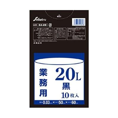 セイケツネットワーク ごみ袋 ポリ袋 業務用20L 厚手 厚み0.03mm 10枚入X60パック (黒)