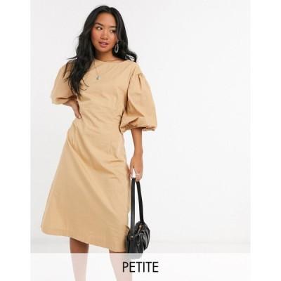 ヴェロモーダ ミディドレス レディース Vero Moda Petite poplin midi dress with puff sleeves in tan エイソス ASOS