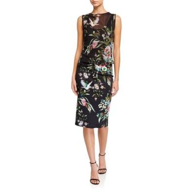 フィッジ レディース ワンピース トップス Bouquet Print Sleeveless Tulle Jersey Mix Dress