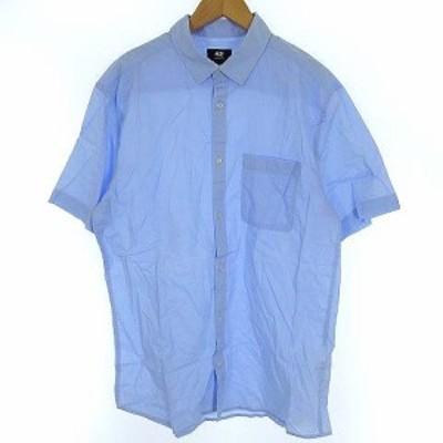 【中古】エイチ&エム H&M レギュラーフィット カジュアル シャツ 半袖 青 ブルー M メンズ