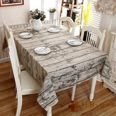 テーブルクロス 食卓カバー 綿麻 木目調 北欧 アンティーク ナチュラル 田園風 テーブルカバー おしゃれ レース