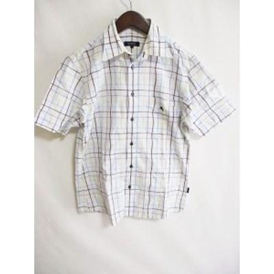 【中古】バーバリーブラックレーベル BURBERRY BLACK LABEL チェック シャツ 半袖 柄物 ロゴ 白 青 2 メンズ