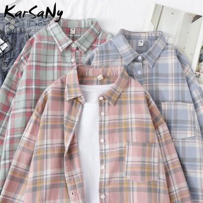 オーバーサイズシャツ チェック柄 女性用ブラウス トップス スプリングルーズシャツ チェック柄コットンシャツ ボーイフレンドシャツ ブラウス