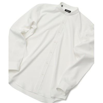 ストレッチポプリン バンドカラーシャツ
