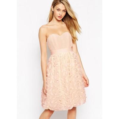 【送料無料】イギリス直輸入 Little Mistress 花びらモチーフ Aライン パニエつき フォーマル ドレス ピンク