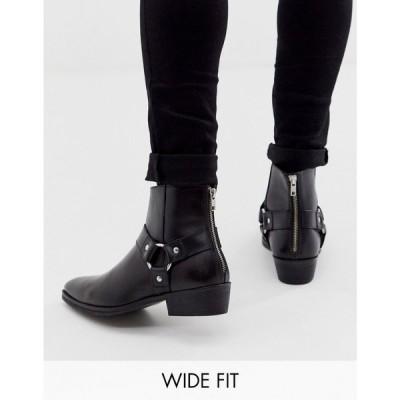 エイソス ASOS DESIGN メンズ ブーツ ウェスタンブーツ チェルシーブーツ Wide Fit cuban heel western chelsea boots in black leather with buckle detail