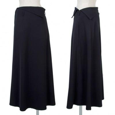 ワイズY's ウールギャバウエスト折返しデザインAラインスカート 濃紺M位 【レディース】