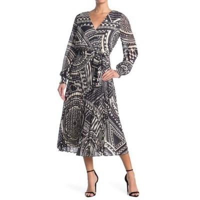 ジェラストマト レディース ワンピース トップス Pleated Print Midi Dress BLACK/WHITE