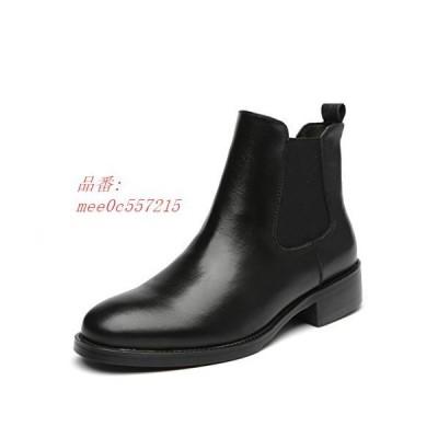 本革 レディースショートブーツ 黒 チェルシーブーツ 大きいサイズ 防水