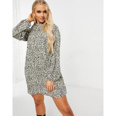 ミスガイデッド レディース ワンピース トップス Missguided shift dress with high neck in stone leopard Stone