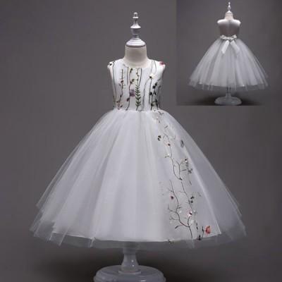 ワンピース  フラワーガール 5colours発表会 チュールスカート フォーマル パーティードレス ロングドレス 結婚式 キッズ 子ども レースワン