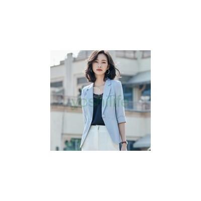 ジャケット レディース テーラードジャケット ブレザー 1つボタン 背広型上着 無地 7分袖 サマージャケット 薄手 韓国 春向き 軽量 ゆったり