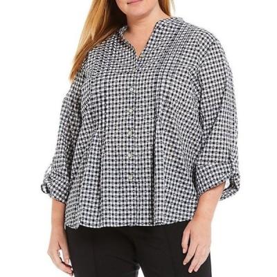 ルビーアールディー レディース シャツ トップス Plus Size Gingham Textured Clip Roll-Tab Sleeve Pintuck Detail Button Down Cotton Shirt
