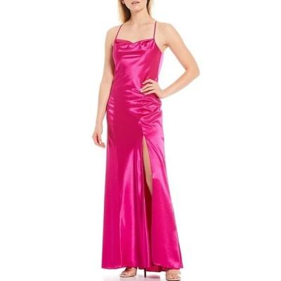 エイダン?エイダン?マトックス レディース ワンピース トップス Open Back Liquid Satin Gown Pink Flame