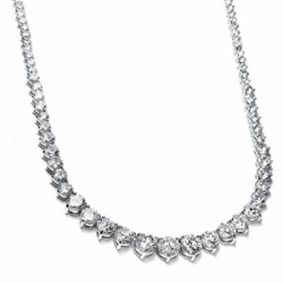 Mariell Graduated Cubic Zirconia Tennis Necklace, Platinum Plated Graduated CZ Bridal Statement Jewelry