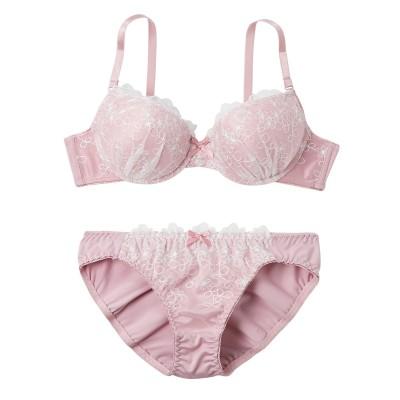 フェミニンホワイトチュールレースデザイン ブラジャー・ショーツセット(C70/M) (ブラジャー&ショーツセット)Bras & Panties
