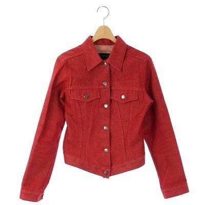 【中古】グッチ GUCCI デニムジャケット ジージャン Gジャン ロゴボタン イタリア製 40 赤 /AA レディース 【ベクトル 古着】