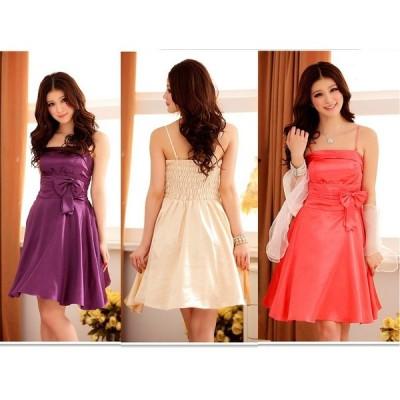 全3色 パーティー 結婚式 二次会 お呼ばれ ウエストプリーツト ドレス ワンピース