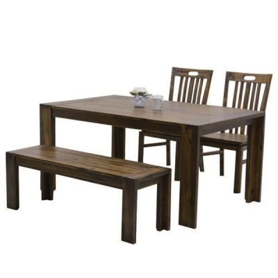 ダイニングテーブルセット アジアン ベンチ 4人用 4点セット