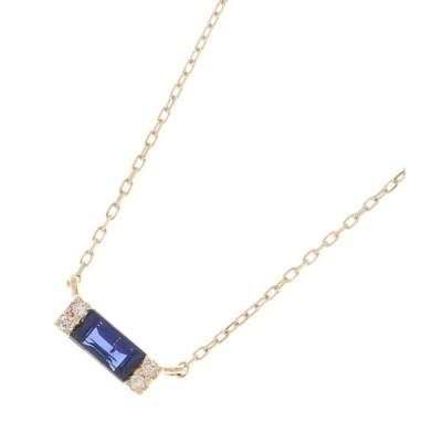 ネックレス カラーストーン(サファイア×ダイヤ)バゲットカット ネックレス