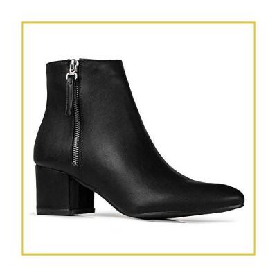 J. Adams Zuma Booties for Women - Black Faux Leather Pointed Toe Low Heel - 9
