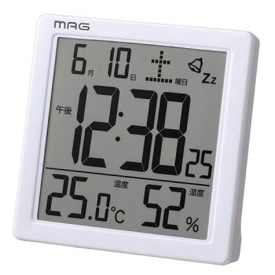 目覚まし時計 非電波 デジタル 温度 湿度 MAG カッシーニ ホワイト T-726-WH-Z (D)(B)